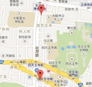 四天王寺 一心寺付近地図